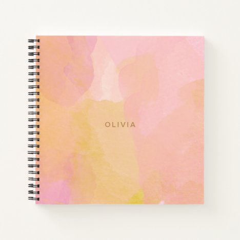 Pink and Gold Watercolor Abstract Painting Notebook