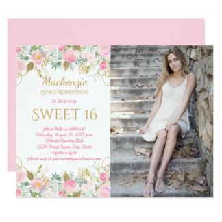 Pink and Gold Watercolor Flowers Photo Sweet 16 Card