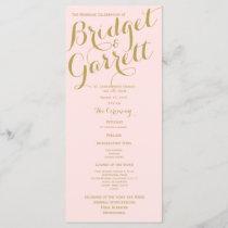 Pink and Gold Wedding Program