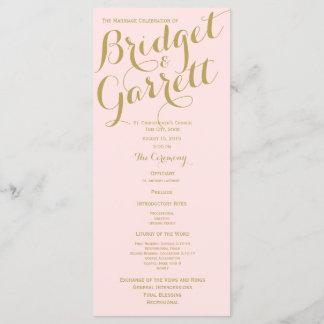 Pink and Gold Wedding Program