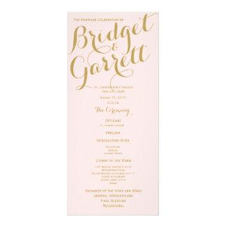 Pink and Gold Wedding Program Rack Card Design