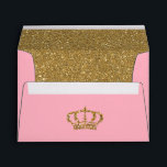 """Pink and Gold with RoyCrown Glitter Lined Envelope<br><div class=""""desc"""">This envelope is great for any occasion,  but goes great with our Royal Princess design</div>"""