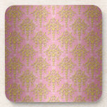 Pink and Gold Yellow Victorian Shabby Damask Coasters