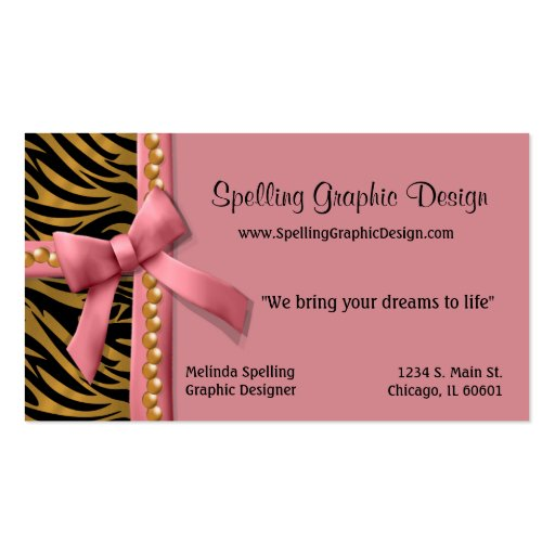 Pink And Gold Zebra Striped Business Card