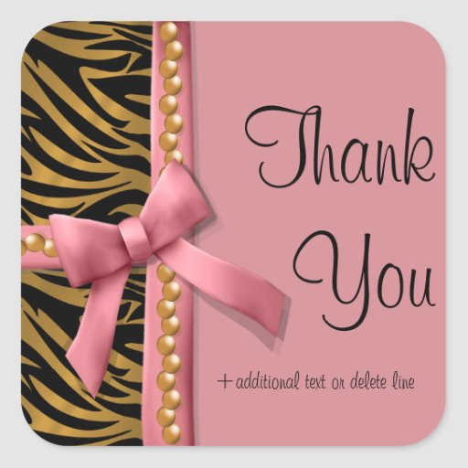 Pink And Gold Zebra Striped With Pearls Sticker
