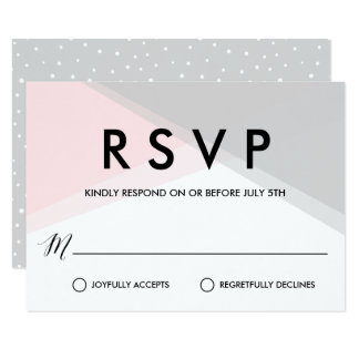 Pink and Gray Abstract Gradient Modern RSVP Card
