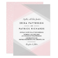 Pink and Gray Abstract Gradient Modern Wedding Card