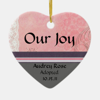 Pink and Gray Adoption Heart Ceramic Ornament