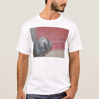 Pink and Gray African Grey Parrot T-Shirt