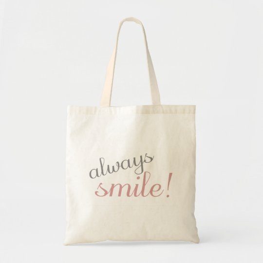Pink and Gray Always Smile Quote Canvas Tote Bag