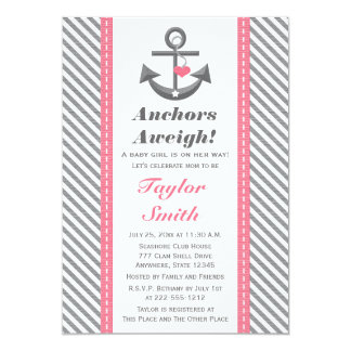 Pink and Gray Anchor Nautical Baby Shower Card