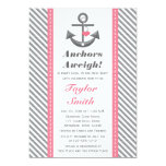 Pink and Gray Anchor Nautical Baby Shower 5x7 Paper Invitation Card