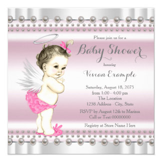 Pink and Gray Angel Pearl Baby Girl Shower Card