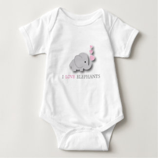 Pink and Gray Baby Elephant Baby Bodysuit