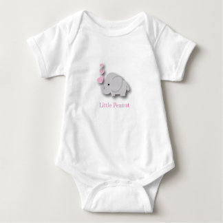Pink and Gray Baby Elephant - Little Peanut Baby Bodysuit