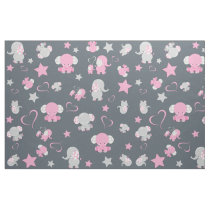 Pink and Gray Baby Elephant Pattern Print Fabric
