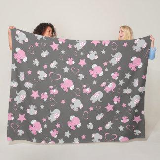 Pink and Gray Baby Elephant Pattern Print Fleece Blanket
