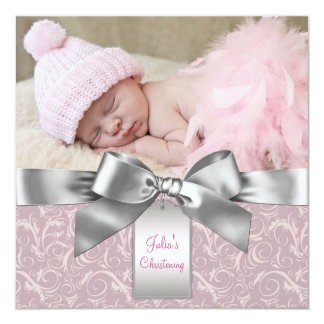 "Pink and Gray Baby Girl Photo Christening 5.25"" Square Invitation Card"