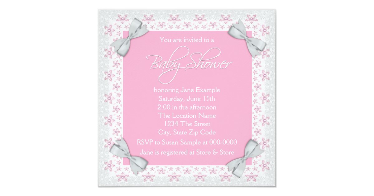 Pink and gray baby girl shower card zazzle for Baby mobile pink and grey