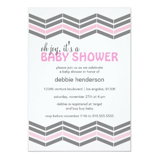 pink and gray baby girl shower invitation zazzle
