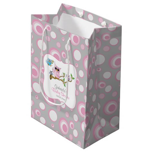 Pink and Gray Baby Owl Baby Shower Medium Gift Bag