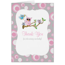 Pink and Gray Baby Owl Baby Shower Thank You Card