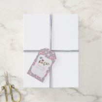 Pink and Gray Baby Owl Baby Shower Thank You Gift Tags