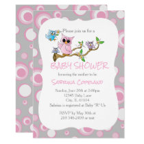 Pink and Gray Baby Owl | Shower Theme Card