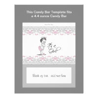 Pink and Gray Baby Shower Candy Bar Wrapper Flyer