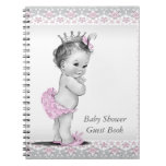 Pink and Gray Baby Shower Guest Book Spiral Note Books