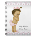 Pink and Gray Baby Shower Guest Book Spiral Notebooks