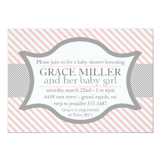 Pink Gray Baby Shower Invitations Announcements Zazzle