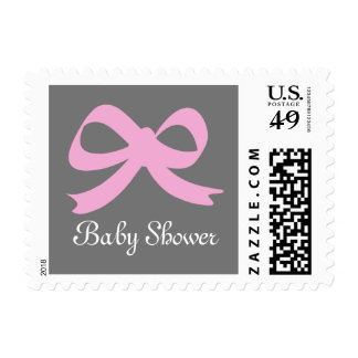 Pink and gray baby shower stamps for new girl
