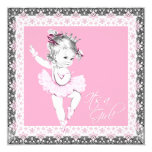 Pink and Gray Ballerina Baby Girl Shower Personalized Announcements