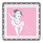 Pink and Gray Ballerina Baby Girl Shower Invites