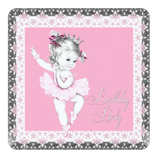 Pink and Gray Ballerina Birthday Party Invitations