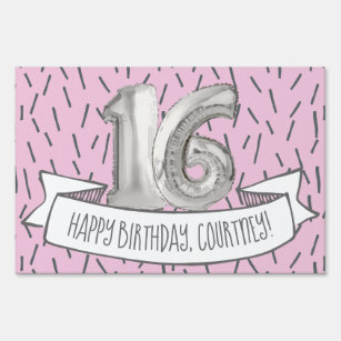 Pink And Gray Balloon Girls 16th Birthday Party Lawn Sign