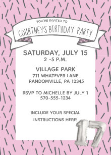 17th birthday invitations zazzle
