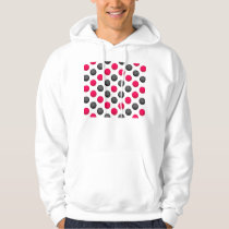 Pink and Gray Basketball Pattern Hoodie