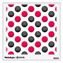 Pink and Gray Basketball Pattern Wall Sticker