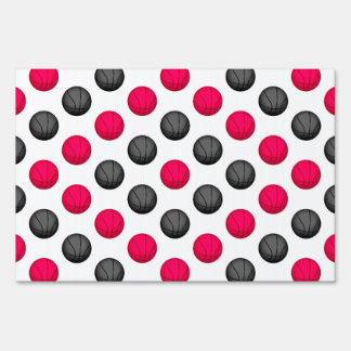 Pink and Gray Basketball Pattern Sign