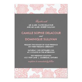 Pink and Gray Batik Flowers Wedding Invitation
