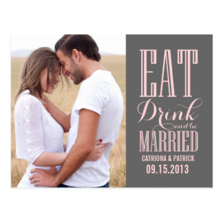 Pink and Gray Be Married Save The Date Postcard