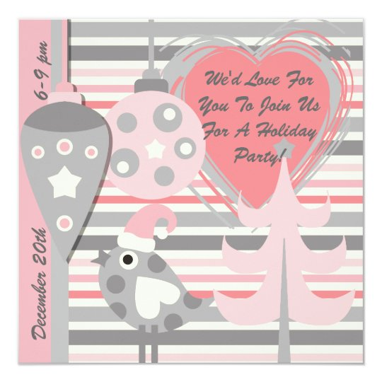 Pink and Gray Bird Stripe Holiday Party Invitation