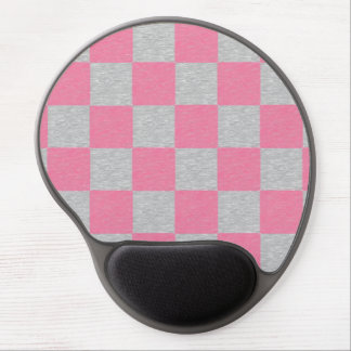 Pink and Gray Checkered Gel Mousepad