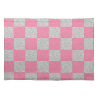 Pink and Gray Checkered Placemat