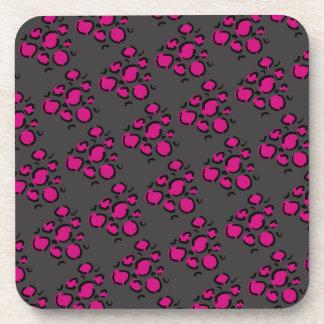 Pink and gray cheetah print cork coaster