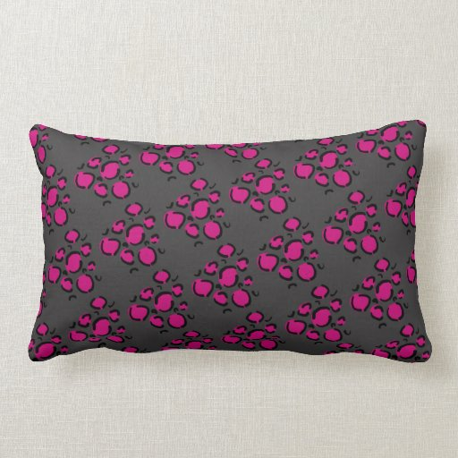 Pink and gray cheetah print pillow