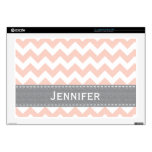 Pink and Gray Chevron 17 Inch Laptop Skin