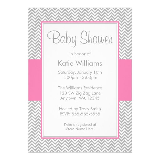 pink and gray chevron baby shower invitations 5quot x 7